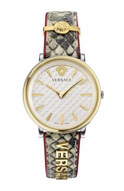 1c6b1aa5b0 Versace V Circle Logo Snakeskin Leather Strap Watch, 38mm