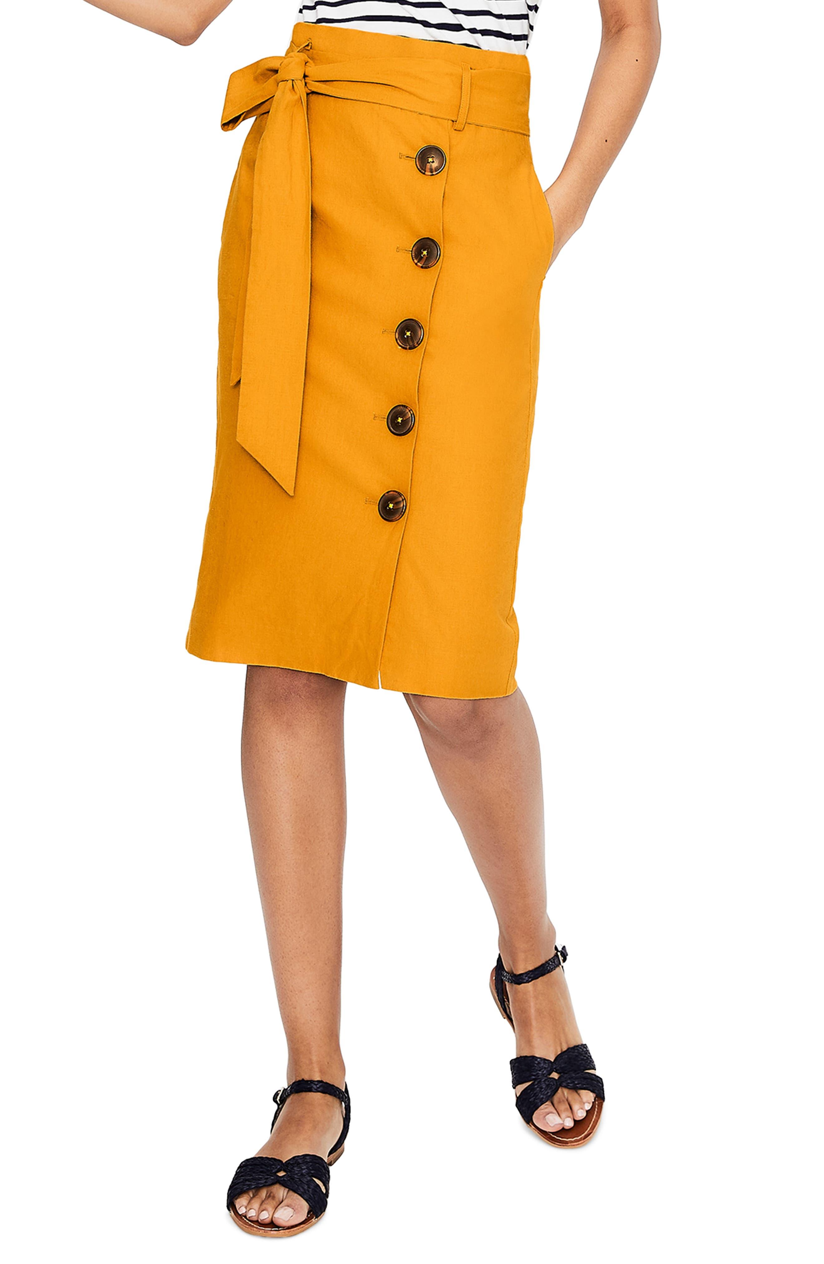 Smart Boden Linen Tan Print Skirt Pockets 10 Skirts Clothing, Shoes & Accessories