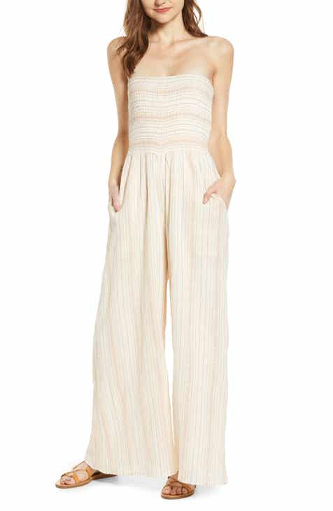A LA PLAGE Smocked Strapless Jumpsuit