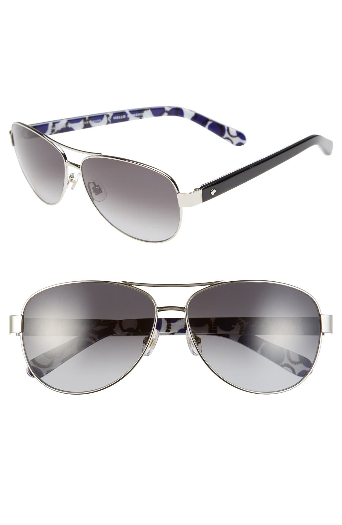 'dalia2' 58mm aviator sunglasses,                             Main thumbnail 1, color,                             Silver/ Dots