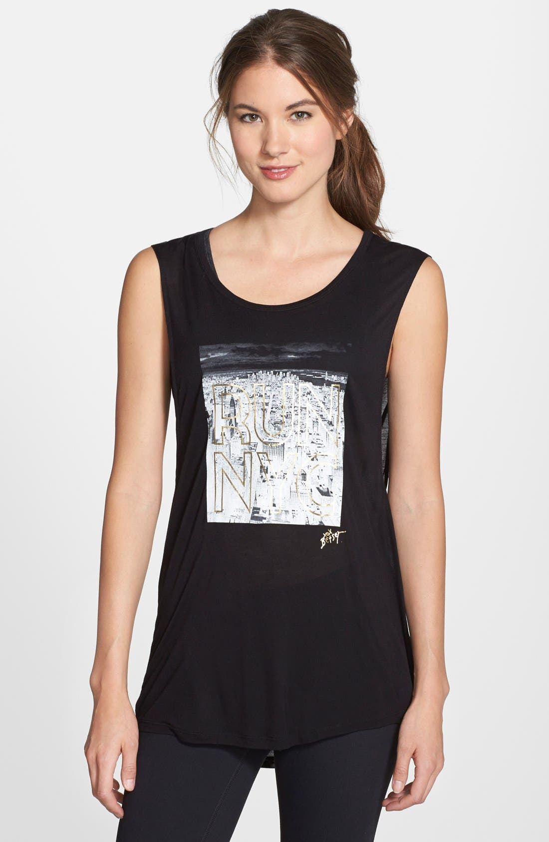 Main Image - Betsey Johnson Performance 'Run NYC' Graphic Muscle Tank