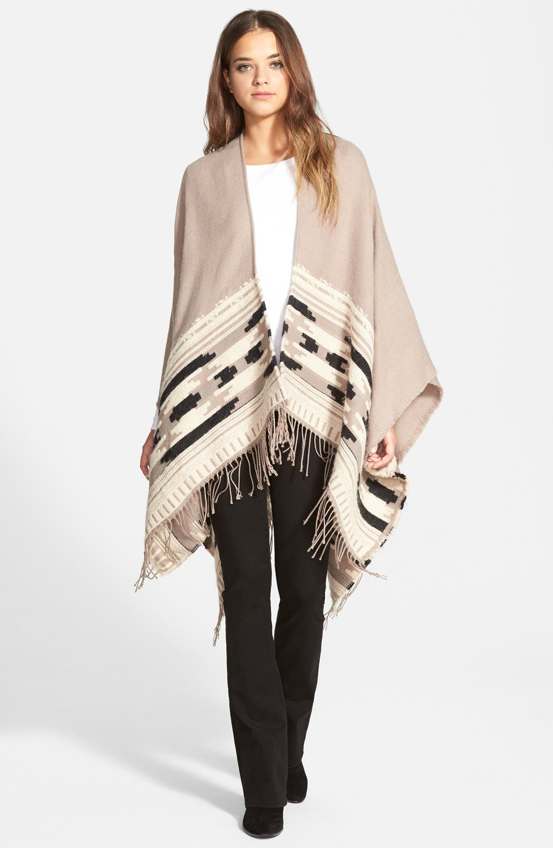 Geometric Weave Cape,                             Main thumbnail 1, color,                             Taupe
