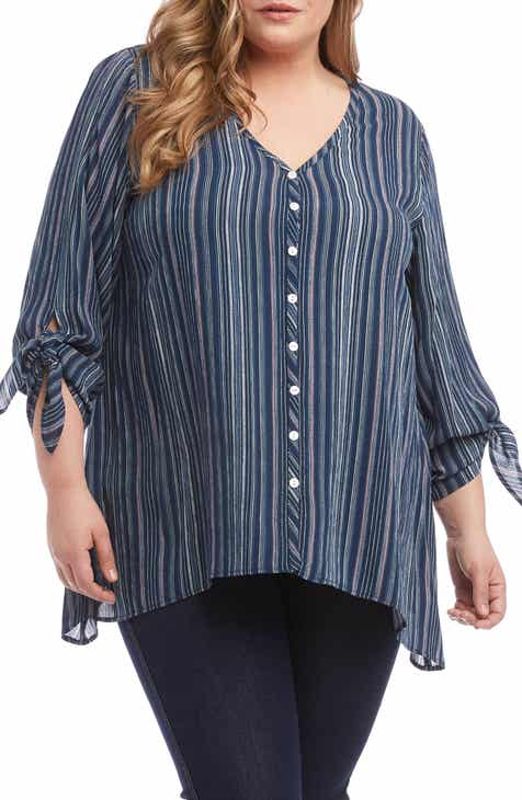 da861bb3b9fd1 Karen Kane Tie Sleeve Top (Plus Size)