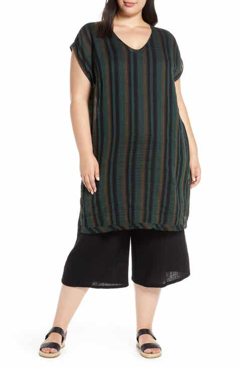 9e2f9265421 Eileen Fisher Stripe Raw Hem Organic Cotton Tunic (Plus Size)