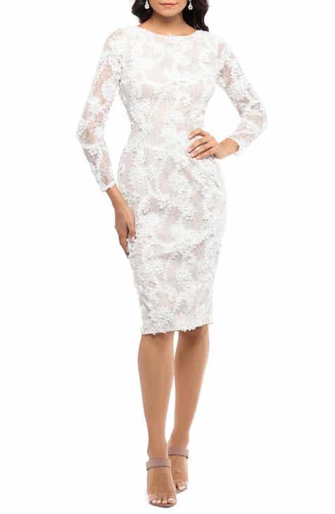 ef97d9c9445 Xscape Lace Appliqué Long Sleeve Cocktail Dress