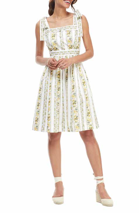 Gal Meets Glam Collection Arina Floral Stripe Tie Shoulder Sundress