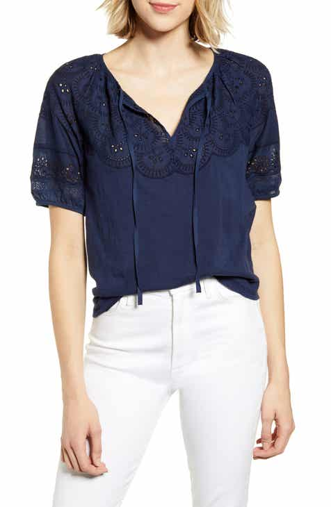 2e1f03409 Lucky Brand Eyelet Embroidered Peasant Top