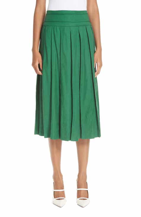 6616231123b8 By Any Other Name Box Pleat Linen Blend Midi Skirt