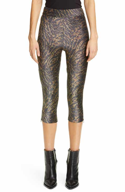 ff61aad01282e Ganni Tiger Print Metallic Jersey Crop Pants. $160.00. Product Image