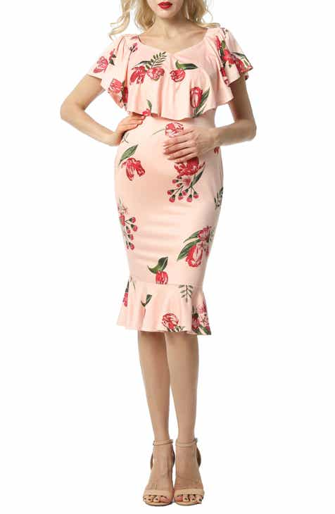 Kimi and Kai Cleo Off the Shoulder Maternity Dress
