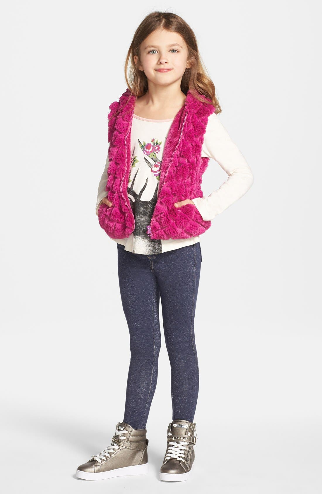 Alternate Image 2  - Widgeon Hooded Faux Fur Vest (Toddler Girls, Little Girls & Big Girls) (Online Only)