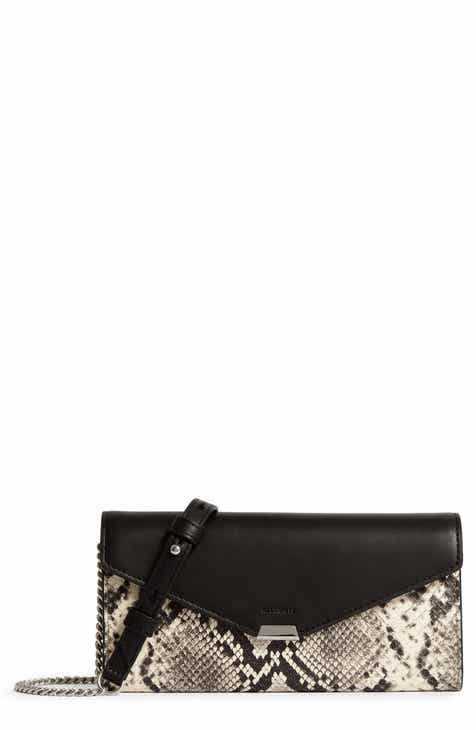 7188f031d4d1 ALLSAINTS Sliver Snake Embossed Leather Wallet on a Chain