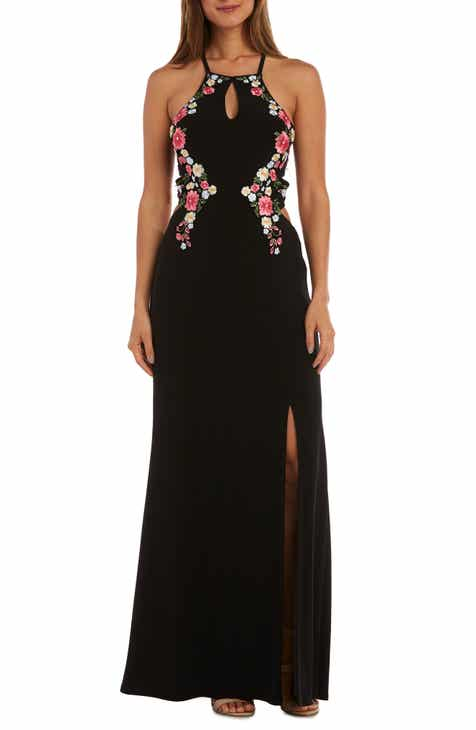 Morgan & Co. Lace-Up Back Halter Neck Evening Gown