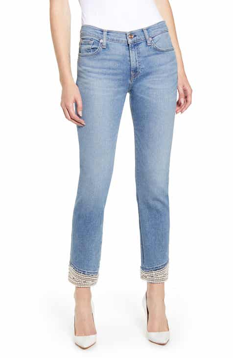 6acac55652e6 7 For All Mankind® Imitation Pearl Embellished Crop Straight Leg Jeans  (Luxe Vintage Flora)