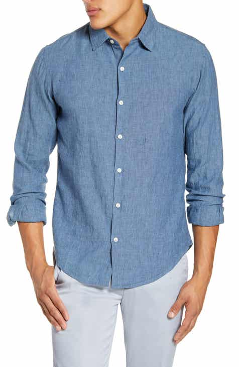 cc05fbb2 Bonobos Slim Fit Washed Linen Blend Button-Up Sport Shirt