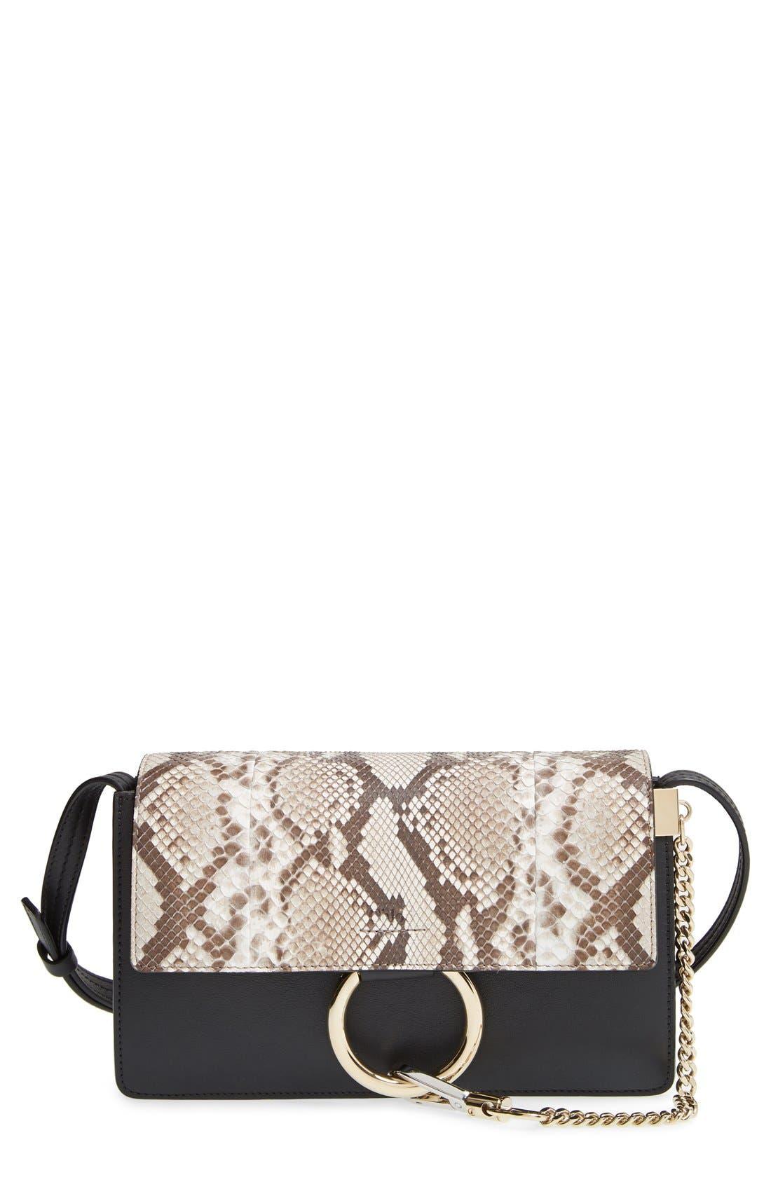 Main Image - Chloé 'Small Faye' Genuine Python & Leather Shoulder Bag