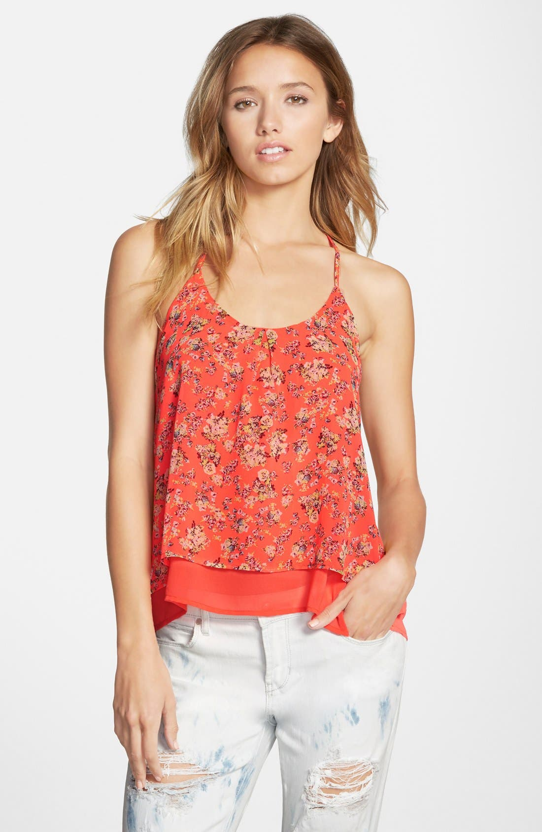 Main Image - Cotton Express Strappy Floral Print Tank (Juniors)
