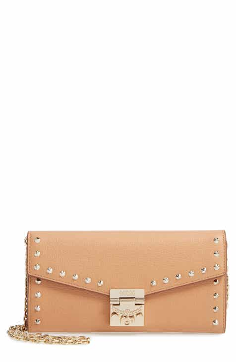 b1fffbfbc MCM Patricia Studded Park Avenue Leather Wallet on a Chain