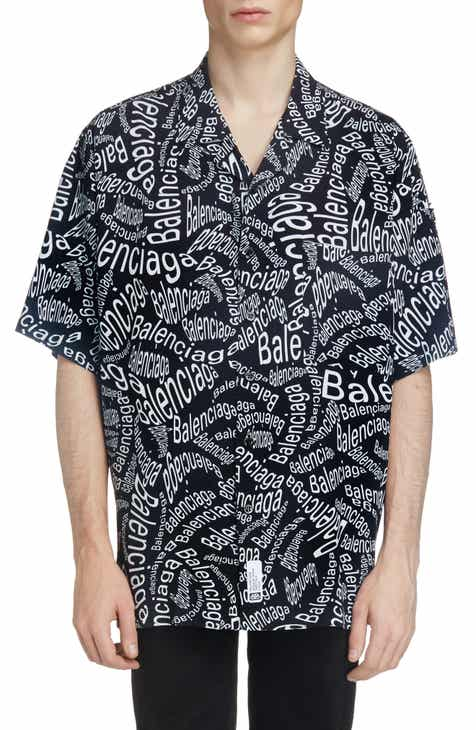 117261ea Balenciaga Logo Print Short Sleeve Button-Up Camp Shirt