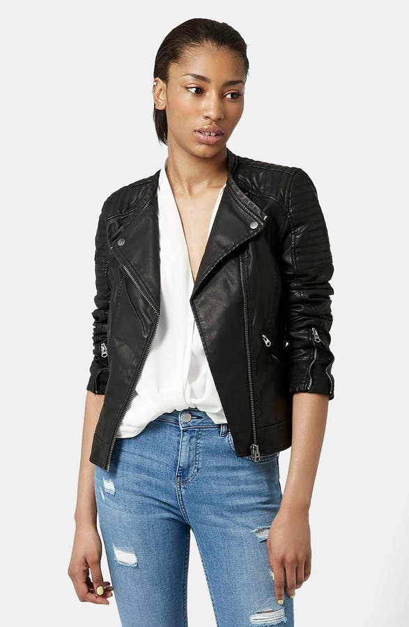 Topshop 'Charlie' Quilted Faux Leather Jacket | Nordstrom : quilted pleather jacket - Adamdwight.com