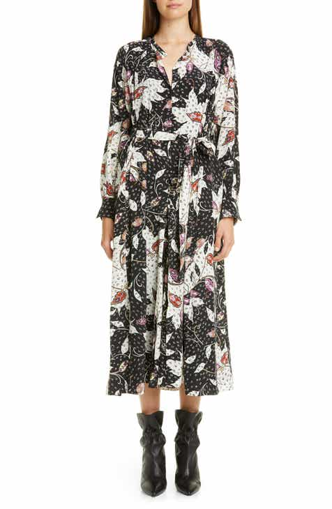 Isabel Marant Floral Print Stretch Silk Long Sleeve Midi Dress