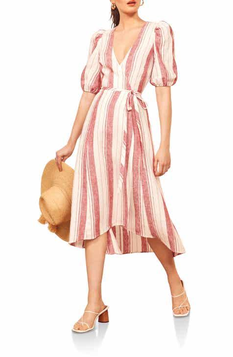 Reformation Waves Linen Wrap Dress