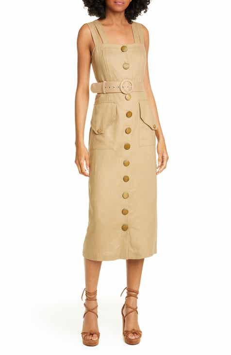 NICHOLAS Button Front Linen Sundress