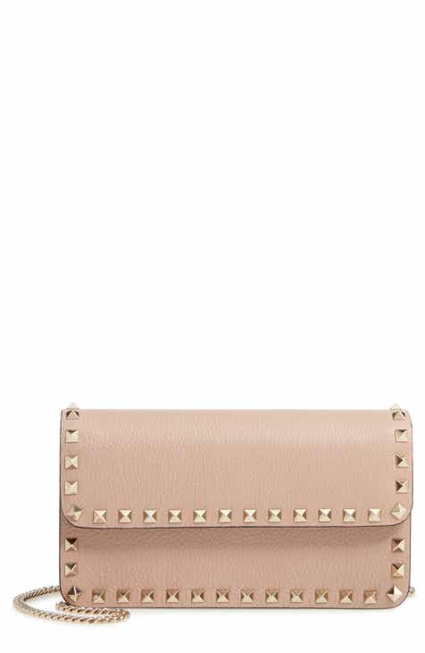 c58db0dad4f VALENTINO GARAVANI Rockstud Leather Wallet on a Chain