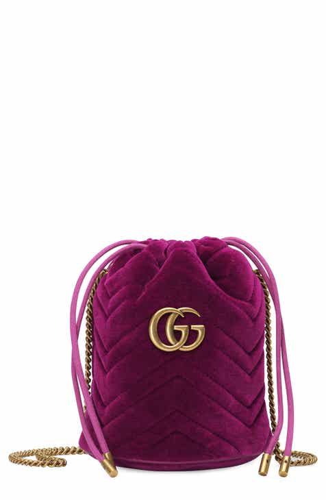 3689bec31cb Gucci Mini GG Marmont 2.0 Quilted Velvet Bucket Bag