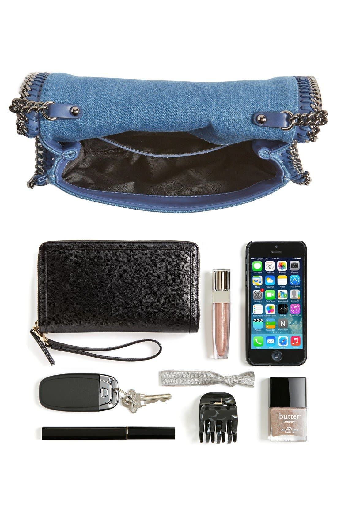 'Falabella - Adorned' Denim Crossbody Bag,                             Alternate thumbnail 7, color,                             Blue