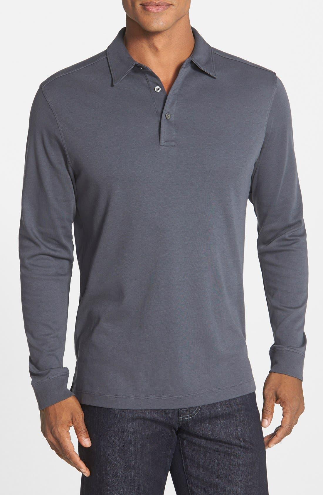 'Belfair' Pima Cotton Polo,                         Main,                         color, Onyx