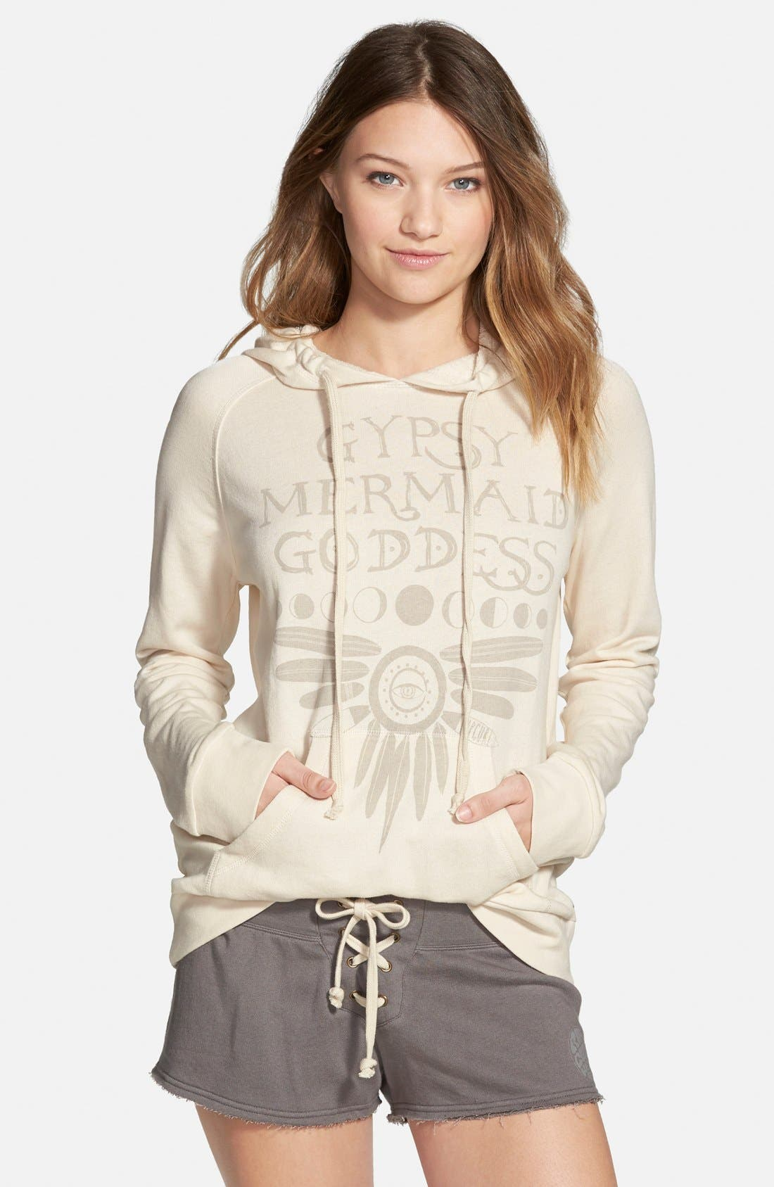 'Gypsy Goddess' Graphic Hoodie,                         Main,                         color, Whitecap Grey