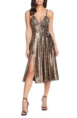 Dress The Population Mimi Leopard Sequin Cocktail Dress
