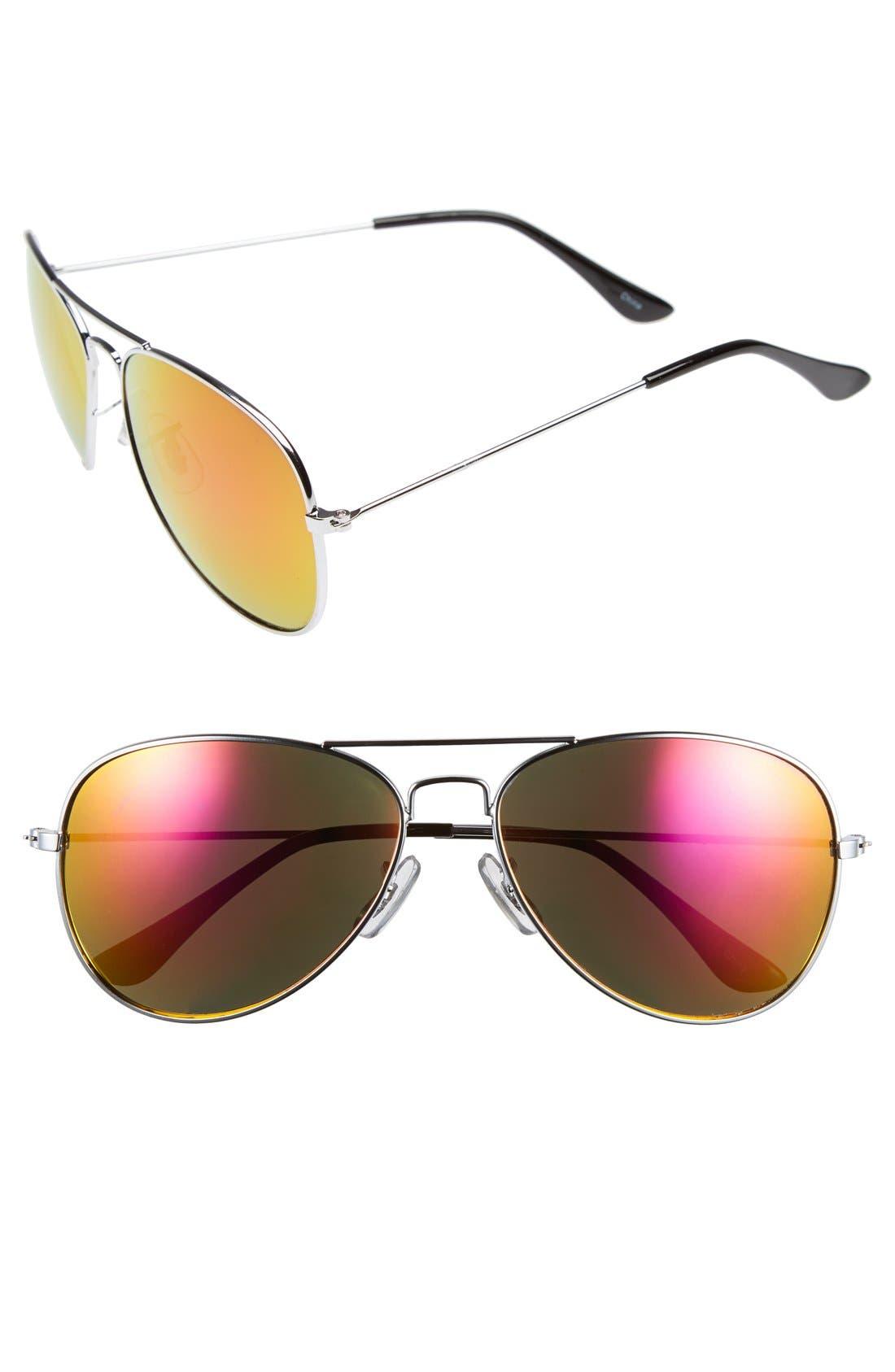 55mm Mirrored Aviator Sunglasses,                         Main,                         color, Silver/ Yellow