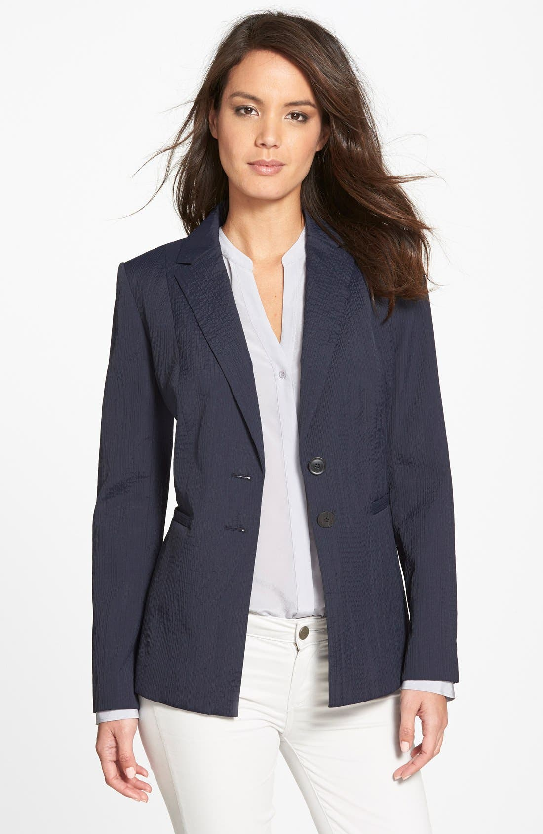 Alternate Image 1 Selected - Classiques Entier® 'Valentina' Elongated Textured Blazer