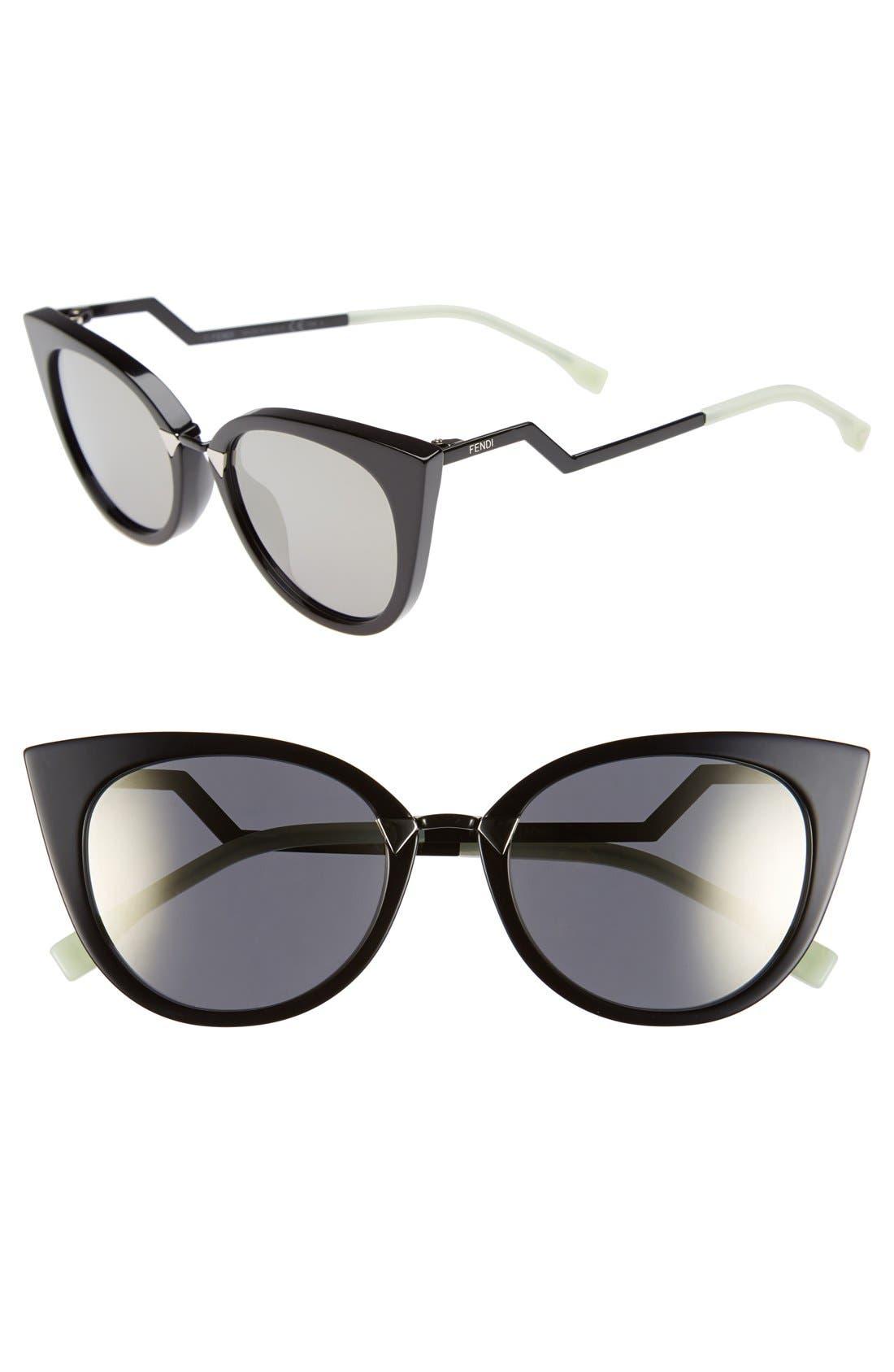 52mm Cat Eye Sunglasses,                         Main,                         color, Black