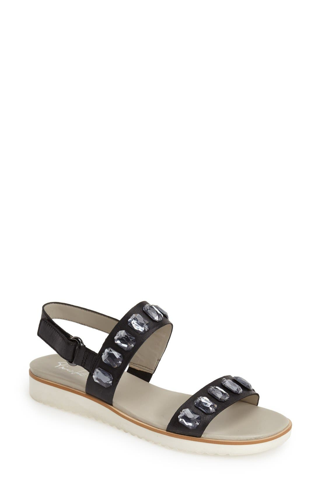 'Diamante' Double Band Slingback Sandal,                         Main,                         color, Black