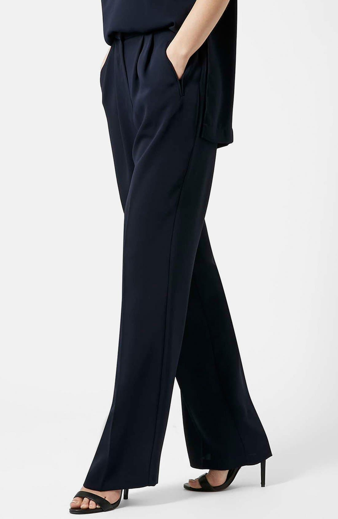 Slouchy Straight Leg Trousers,                         Main,                         color, Navy Blue