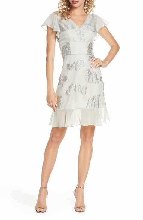 Chi Chi London Clemmie Metallic Jacquard Cocktail Dress