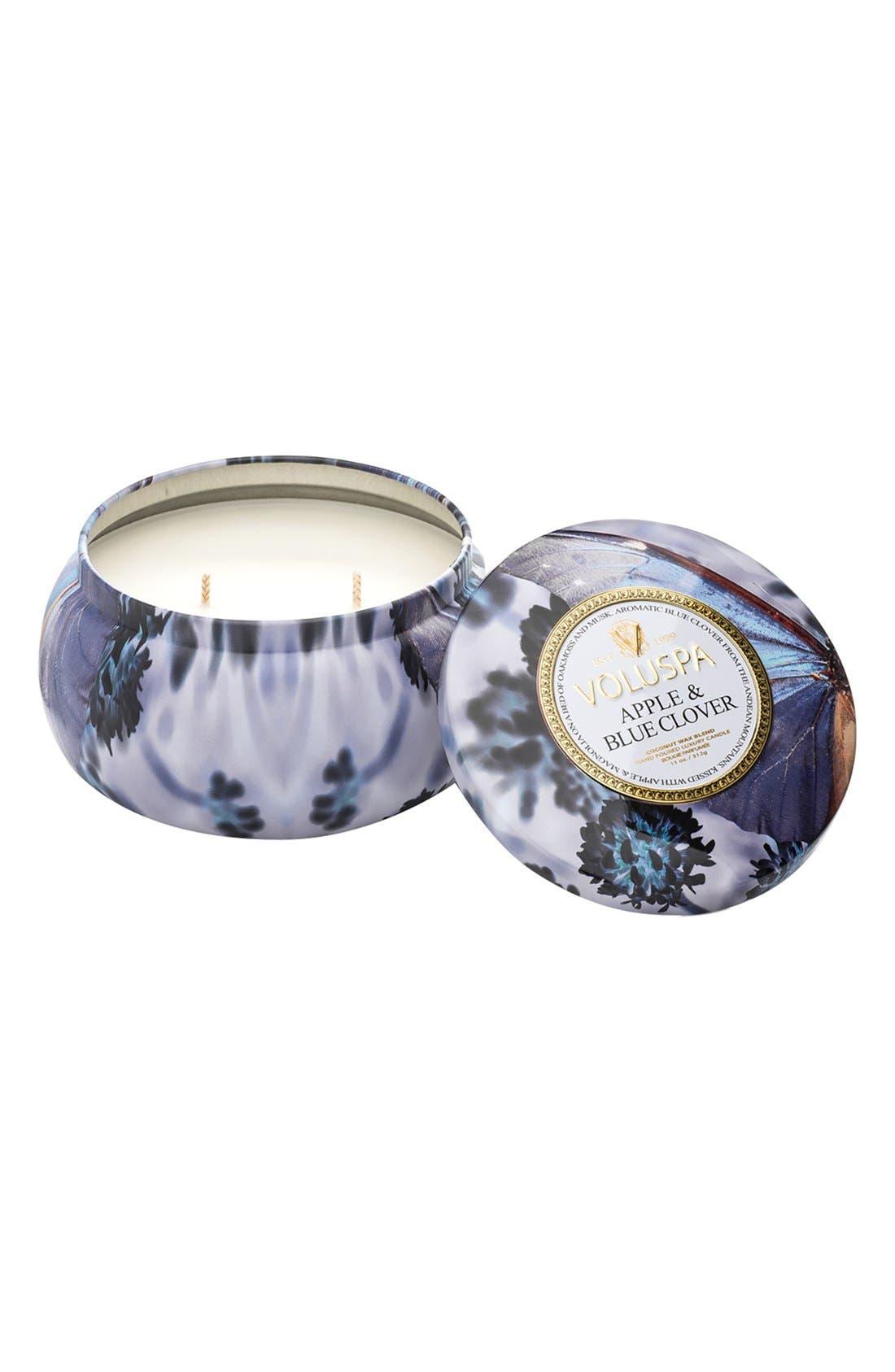 Maison Jardin Apple & Blue Clover Maison Metallo 2-Wick Candle,                         Main,                         color, Apple Blue Clover