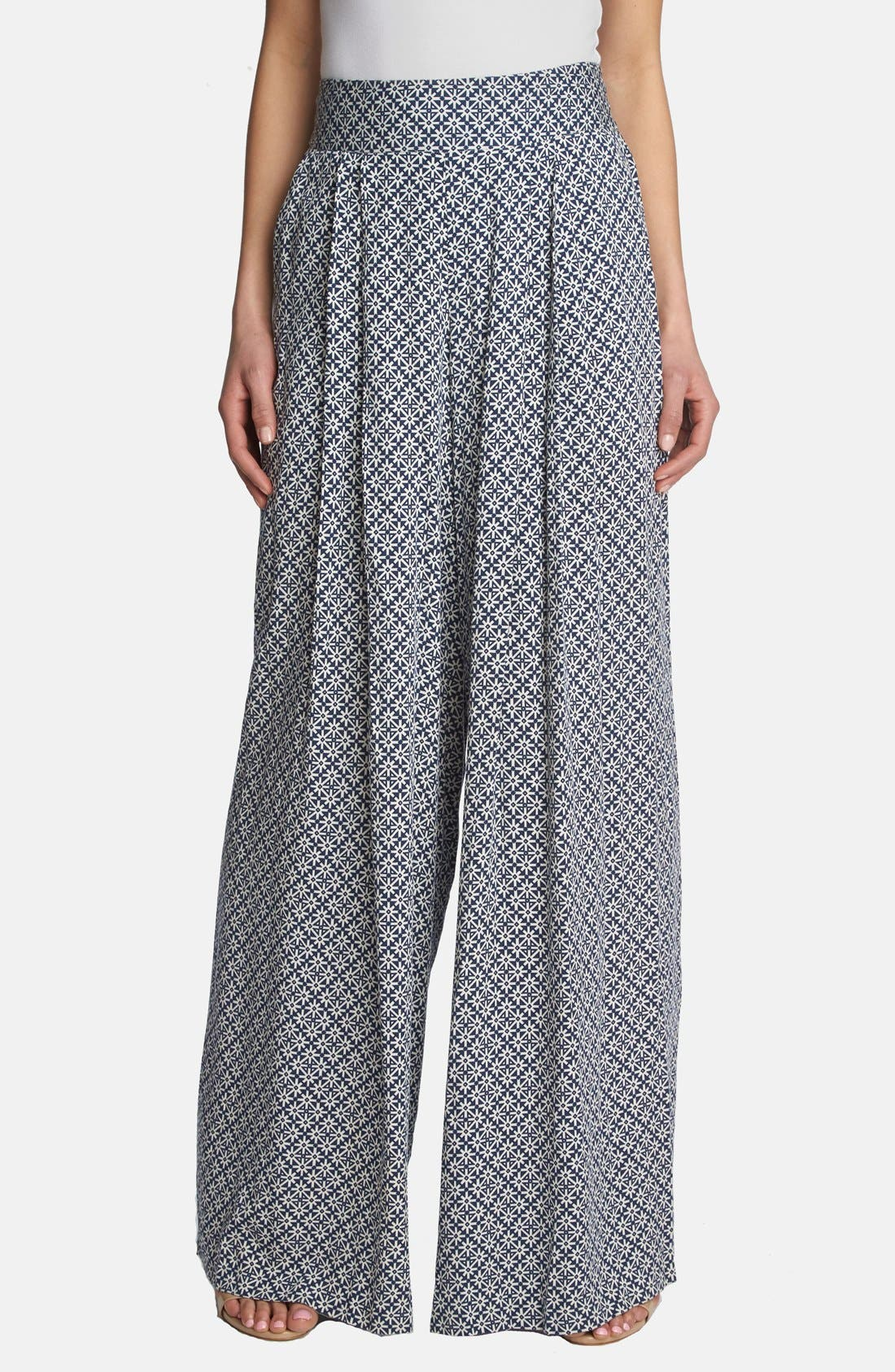 Main Image - 1.STATE High Rise Wide Leg Print Trousers