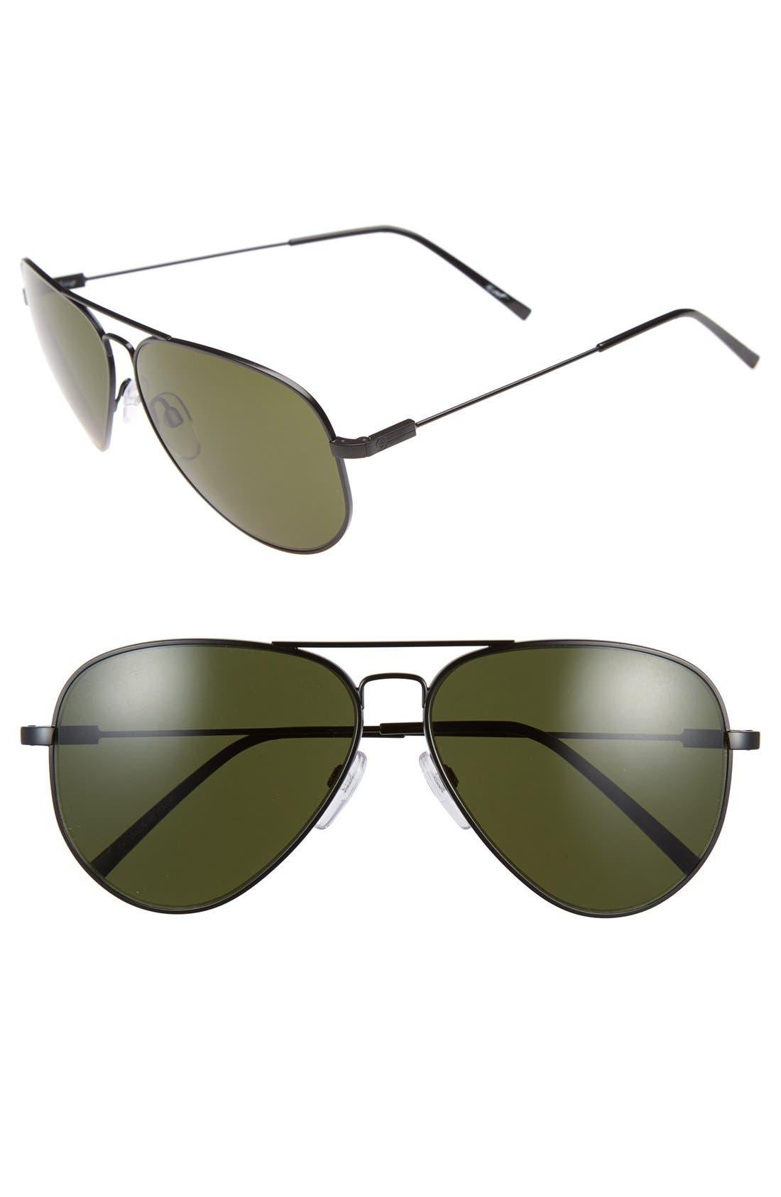 'AV1 XL' 62mm Aviator Sunglasses,                             Main thumbnail 1, color,                             Black/ Grey