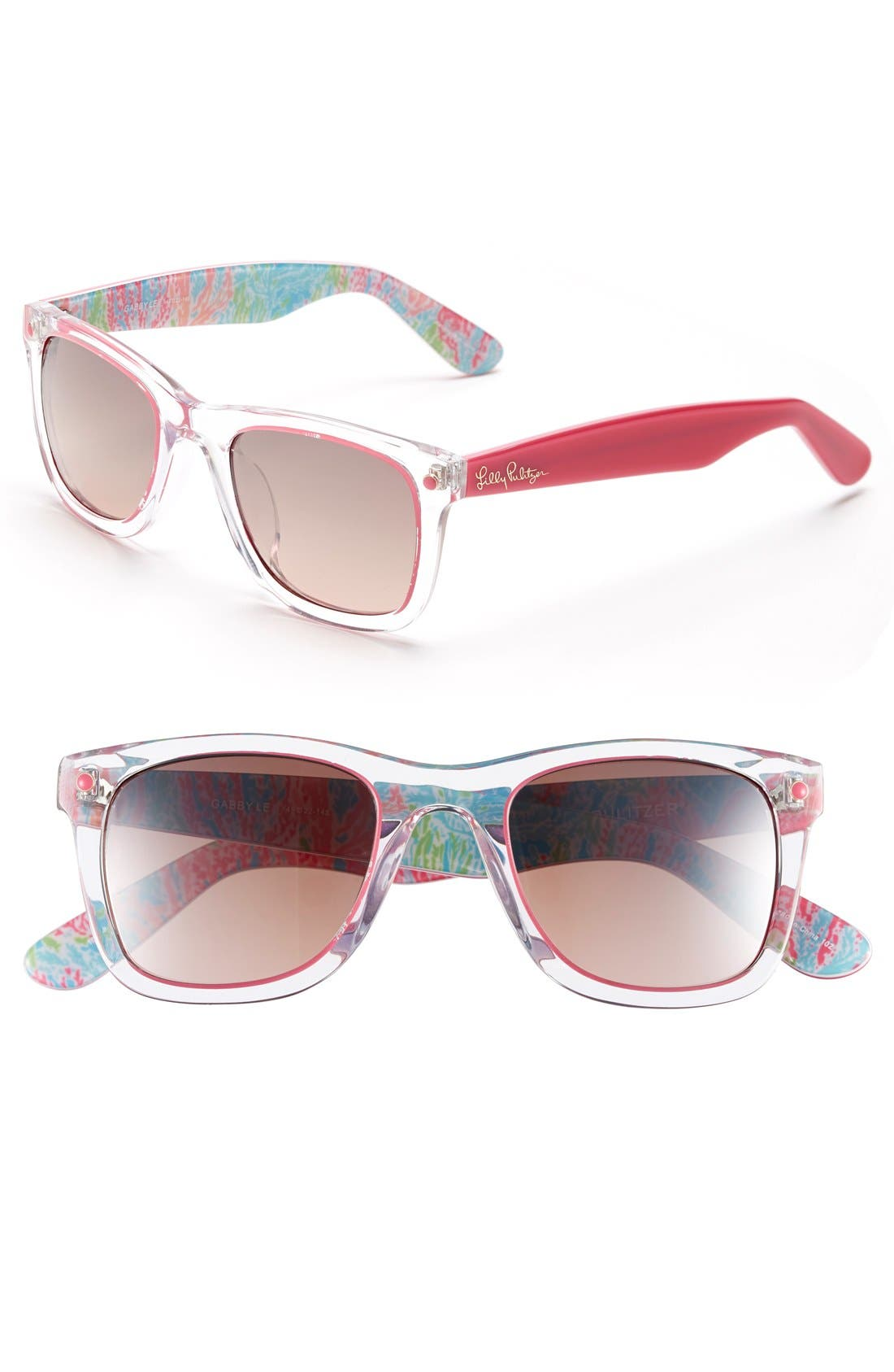 'Gabby' 49mm Retro Sunglasses,                             Main thumbnail 1, color,                             Crystal/ Hibiscus