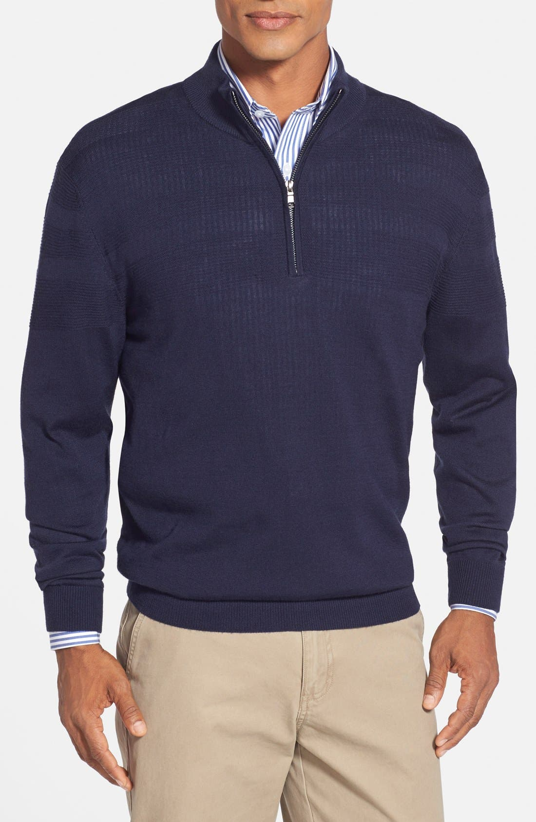 Cutter & Buck 'Douglas' Merino Wool Blend Half Zip Sweater (Big & Tall)