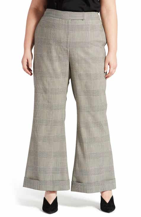 Pari Passu Wool Blend Wide Leg Pants (Plus Size)