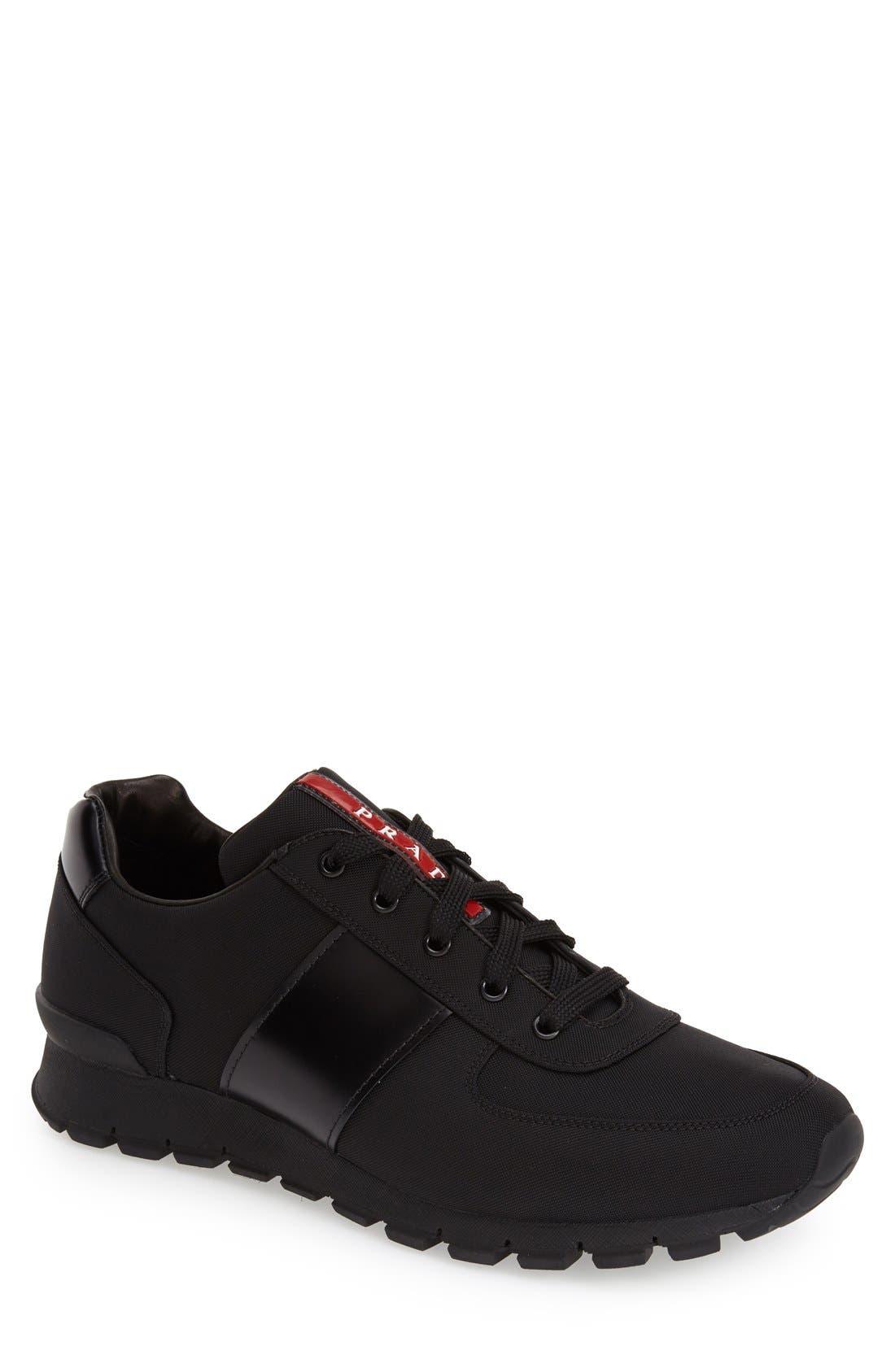 Runner Sneaker,                         Main,                         color, Black Fabric