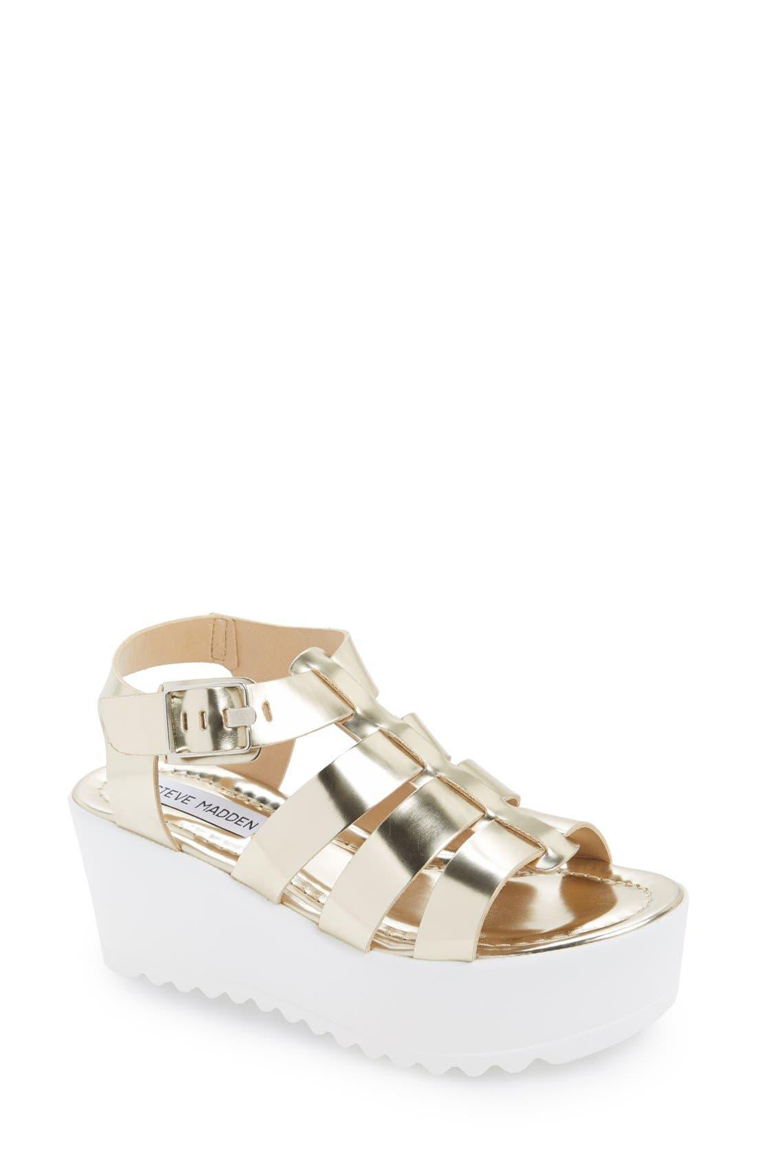 'Strangld' Gladiator Platform Sandal,                         Main,                         color, Gold Leather