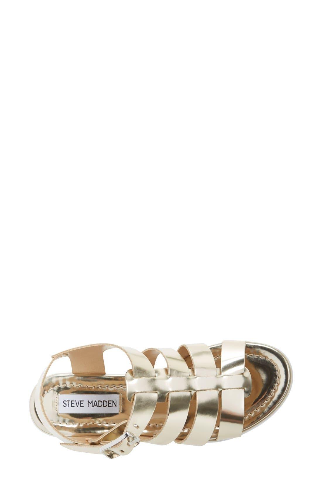'Strangld' Gladiator Platform Sandal,                             Alternate thumbnail 3, color,                             Gold Leather