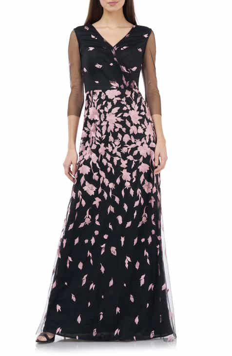 JS Collection Floral Embroidered A-Line Gown