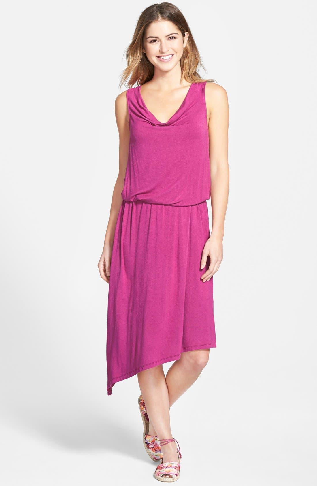Alternate Image 1 Selected - Halogen® Blouson Dress with Asymmetrical Hem (Regular & Petite)